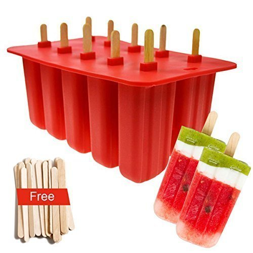 Silicone Popsicle Mold 10-Cavity with Cover Lid + 50 Sticks