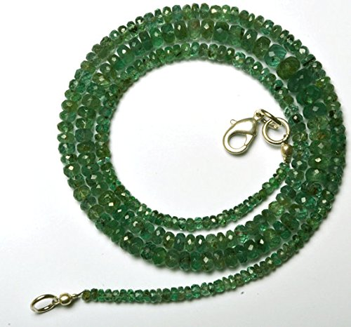 1 Strand Natural 21 inches Stands AAAA Gems Quality 100% Natural Emerald Transparent Faceted Roundels Beads Necklace 2.5 to 5 MM