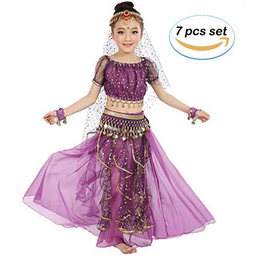 Girls Belly Dancing Costume Birthday Party Fancy Dress, Kids Cosplay Arabian Princess Dancewear Shiny Carnival Outfit (L, Purple) -