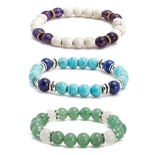 3 Stone Green Bracelet (Angenca 1-3Pcs Lava Rock Women Men Beaded Bracelet Wrist Stretch Gemstone Wristband Links)