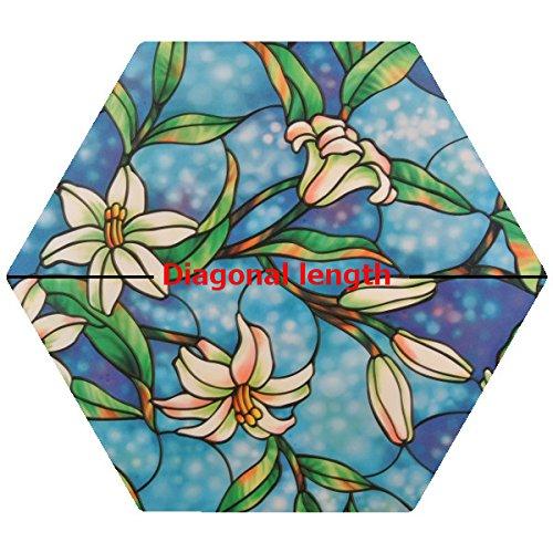 PROTINT WINDOWS Precut Hexagon Orchid Decorative Window Film, Self Static Adhesive Cling, 24 inches diagonal price tips cheap