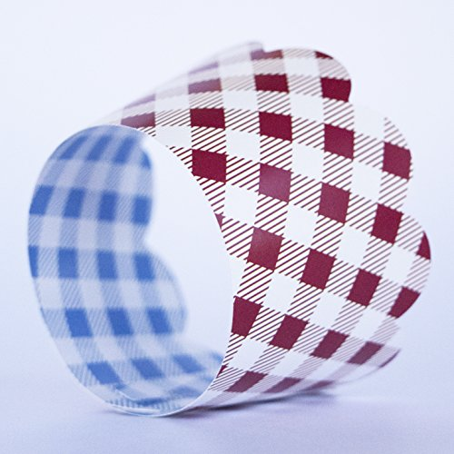 Red Checkered Cupcake Wrappers, 36, Farm Animals Birthday Party Supplies, I Do BBQ Decorations, Baby Q Shower Favor Bag Holder, Country Western Themed Cup Cakes, Cowboy B-Day, Blue Gingham Wraps by Confetti Couture (Image #2)