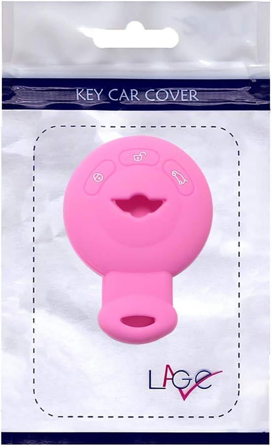 Lage caparaz/ón de Silicona Carcasa Llave para Mando a Distancia Mini Llavero One Cooper D S SD Countryman Cabrio John Clubman Mini Rosa