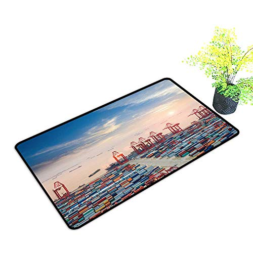 gmnalahome Large Door Mats Shoes Scraper Container Terminal at Dusk The Busy Logistics backgroun Use for Front Door Entrance W21 x H11 INCH - Shoe Busy