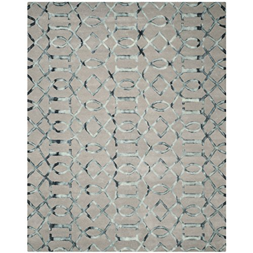 Safavieh Dip Dye Collection DDY712B Handmade Geometric Watercolor Grey and Charcoal Wool Area Rug (8′ x 10′)