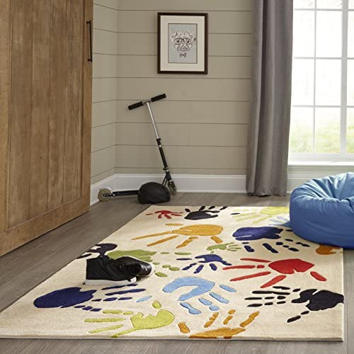 Momeni Rugs Lil Mo Whimsy Collection, Kids Themed Hand Carved Tufted Area Rug, 8 x 10 , Multicolor Handprints on Ivory
