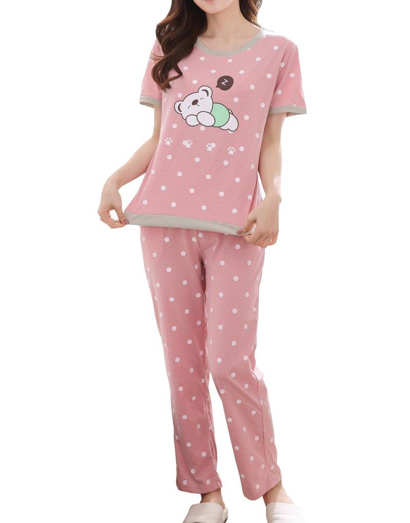 MyFav Big Girls' Polka Dot Printed Sleepwear Cute Sleepy Bear Summer Pajama Sets