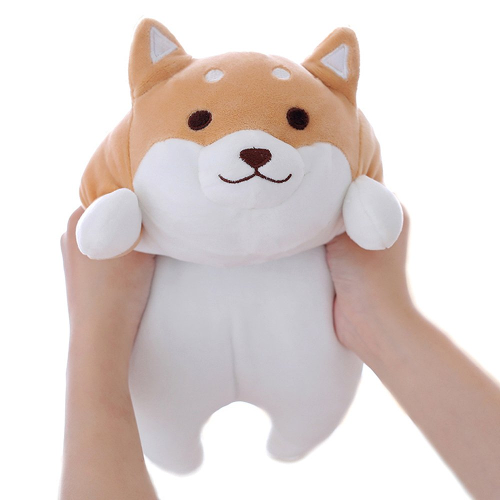 Shiba Inu Dog Plush Pillow, Cute Corgi Akita Stuffed Animals Doll Toy Gifts for Valentine's Gift, Christmas,Sofa Chair, brown round eye, 15''