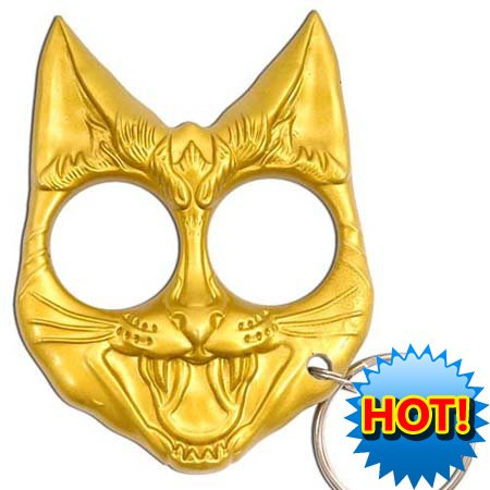 Self Defense Evil Cat Keychain Gold Buy Online In Cayman