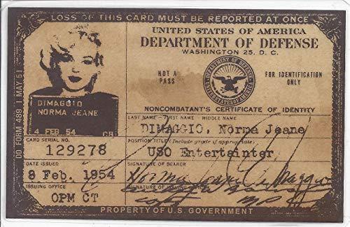 Tombstone Replicas Marilyn Monroe USO ID Identification Card 1954 Norma Jeane DiMaggio - Marilyn Poster Card Monroe