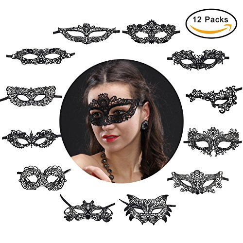 Letsparty 12 Packs Women's Sexy Soft Lace Masks Eye-mask for Ball Party Venetian Masquerade Costume - (Easy Made Halloween Costumes Couples)
