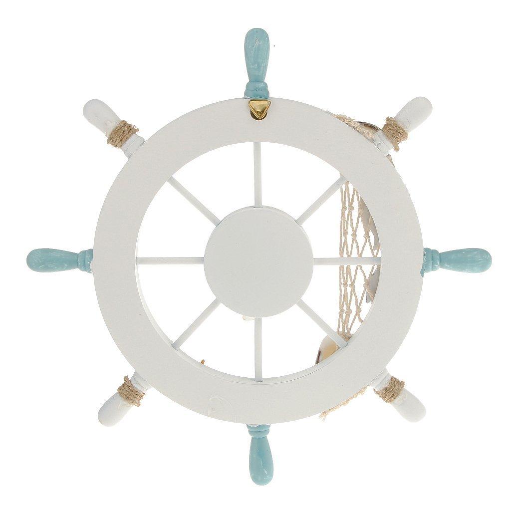 Rienar Nautical Beach Wooden Boat Ship Steering Wheel Fishing Net Shell Home Wall Decor White - Fish