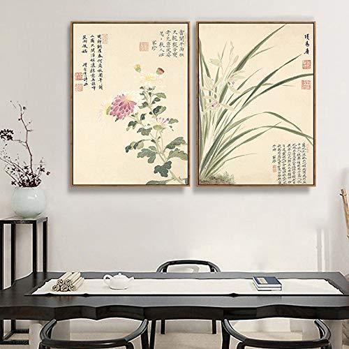 Schlafzimmermalerei Elegante Moderne und Chinesische Wandmalerei DEED Wohnzimmerdekorationsmalerei Blumenmustermalerei botanische Malerei Elegante A Dekorative AnwOFzqC