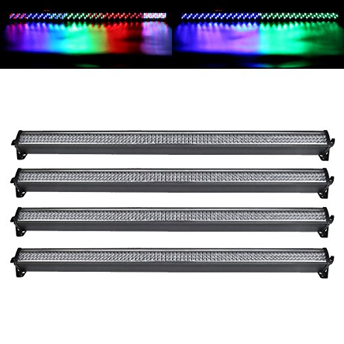 TC-Home 4pcs 3 In 1 DMX 26 Channel Stage Light 252 LED DJ Wall Wash Linear Bar Light Wall Washer