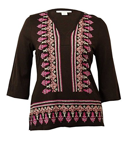 Charter Club Womens Plus Cotton Beaded Tunic Top Brown 2X -