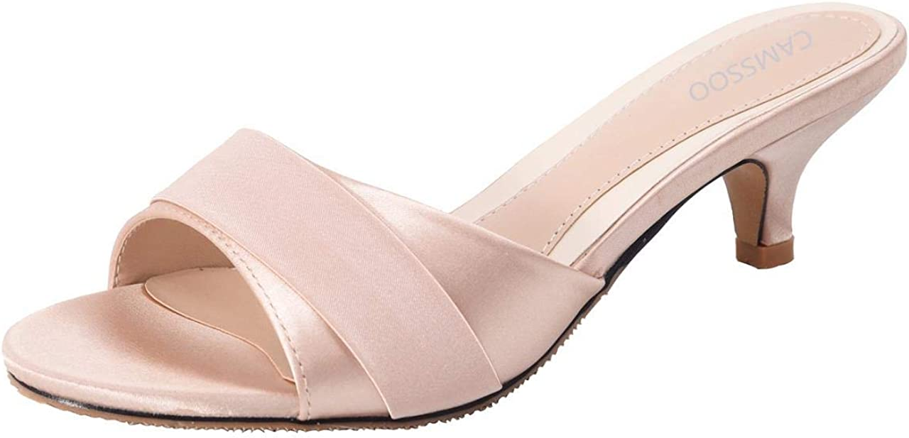 Women's Kitten Heels Slide Sandals,Simple Slip On Peep Toe Low Heel Slip Resistant Slippers