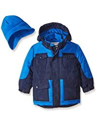 Rothschild Little Boys' Toddler Heavyweight Coat with Hat, Navy, Medium/3T