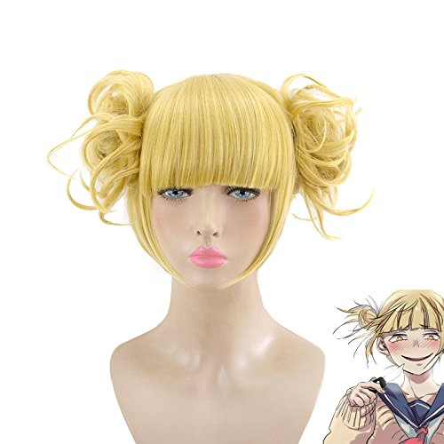 HSIU New Himiko Toga Cosplay Wig My Hero Academy Costume Play Wigs Halloween Costumes (Halloween Toga Costume)
