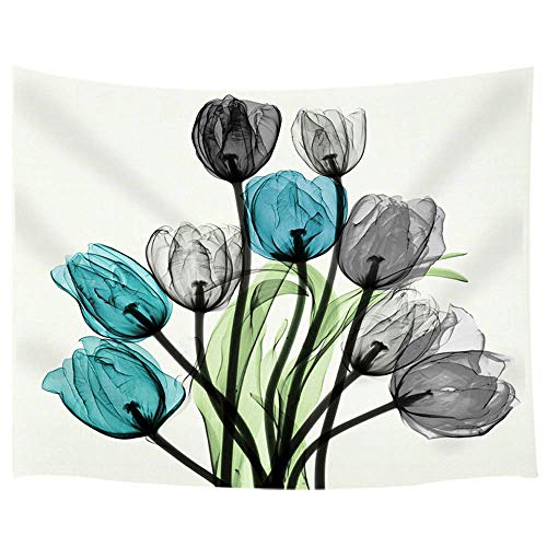 Tapestry Green Floral - KOTOM Floral Tapestry, Watercolor Tulip Flower kallaite Black Green, Living Room Bedroom Dorm Polyester Fabric Wall Hanging 80X60Inches