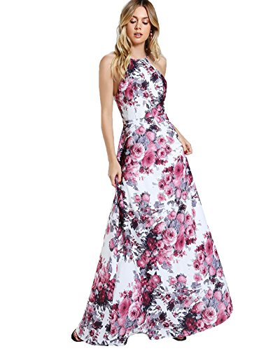 Floerns Women's Sleeveless Halter Neck Vintage Floral Print Maxi Dress X-Small White-Pink