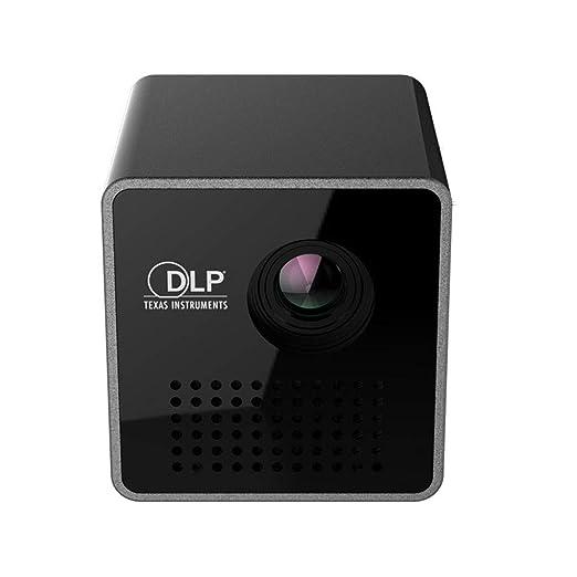 Kongnijiwa Mini Proyector de Bolsillo Inicio proyector de película HD 1080P TF Tarjeta de vídeo portátil Proyector de 640 * 360