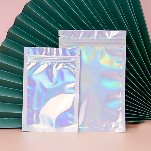 100 Pieces Mylar Smell Proof Bags - 3x4 Inch Resealable Bags, Flat Clear Ziplock Food Storage Bags Plastic Packaging for Party Favor Food Storage (Holographic Color, 3x4 Inch)