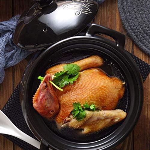 APcjerp Cartoon-Muster Ceramic Round Black Dish Casserole/Tontopf/Tontopf/Keramik-Kochgeschirr mit weißen Deckel Hitzebeständige Hslywan