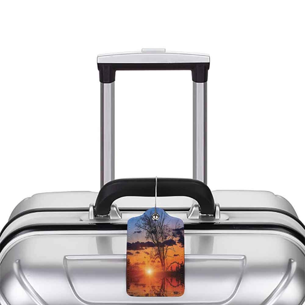 Durable luggage tag Apartment Decor Collection The Time When the Sun Disappears or Day Light Fades Image with Oak Tree Mirror Effect Unisex Orange Blue W2.7 x L4.6