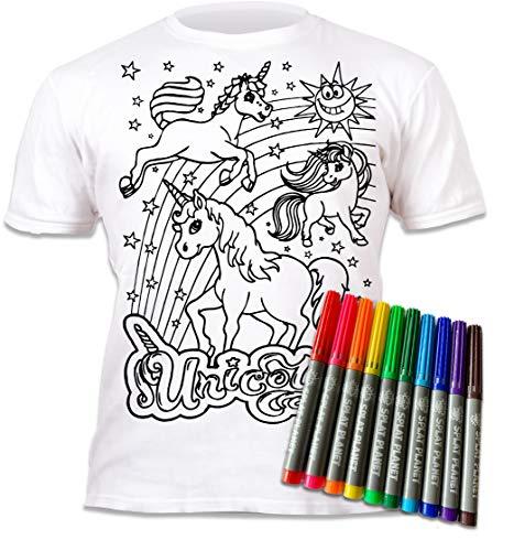 Splat Planet Kleur-in eenhoorn T-shirt met 10 niet-giftige wasbare magische pennen – Kleur-binnen en was uit T-shirt