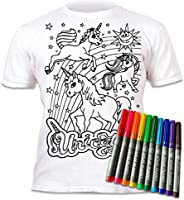 Splat Planet Color in and wash Out Unicorns T-Shirt with 10 Non-Toxic Washable Magic Pens