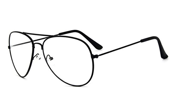 EVRYLON - Gafas de sol para hombre y mujer, lentes transparentes en forma de lágrima, modelo aviador, montura negra