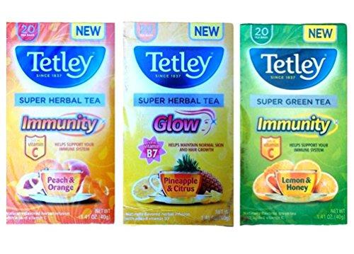Tetley Super Tea Tea 3 Flavor Variety Bundle, 1 Each: Peach Orange Immunity Herbal, Pineapple Citrus Glow Herbal, (Tetley Lemon Tea)