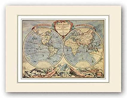 Amazon Com World Map 18th Century By Pierre Bourgoin 12 X17 Art