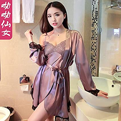 cf137683d437 WXIN Silk Pajama Women S Lace Deep V Sling Nightdress Robe Two Piece Set  Purple  Amazon.co.uk  Kitchen   Home