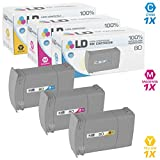 LD Remanufactured Replacements for HP 80 Set of 3 Ink Cartridges: 1 C4846A Cyan, 1 C4847A Magenta, 1 C4848A Yellow for DesignJet 1050C, 1050C Plus, 1055CM, 1055CM Plus
