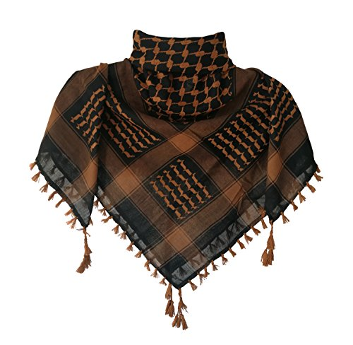 KINGREE Military Shemagh Tactical Desert 100% Cotton Keffiyeh Scarf Wrap, Shemagh Head Neck Scarf, Arab Scarf (Tassels-Brown) -