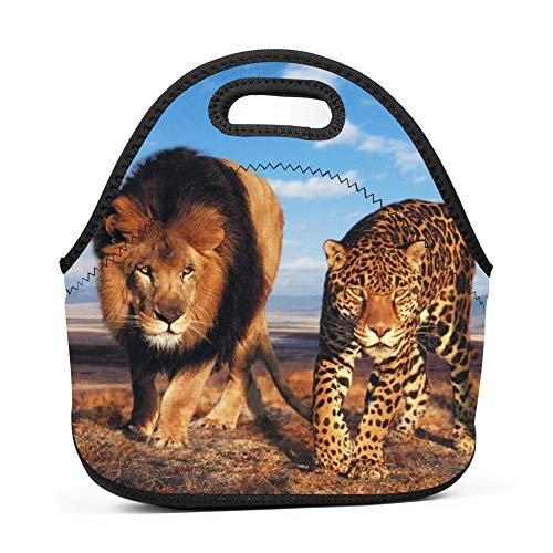 123ZoeB Tiger Lion Leopard Unisex Lunch Bag Portable Bento Box 3D Print Rugged Snack Bag Multi-fonction Zipper Tote for Travel Office Outdoor