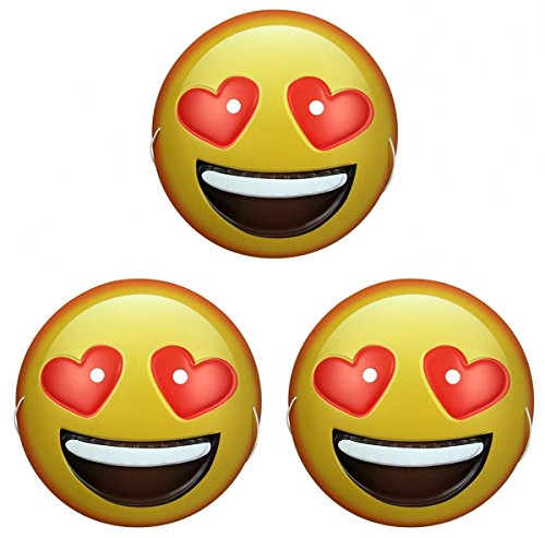 Dubster Brand Emoji Smiling Face with Heart Eyes Character Costume Mask, Pack of 3 - Smiling Emoji Adult Mask