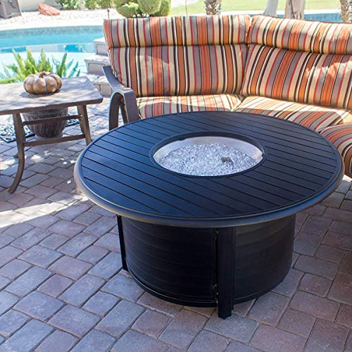 Hiland F-1350-FPT Extruded Aluminum Round Slatted Fire Pit, Large, Black, Includes Clear Fire Glass