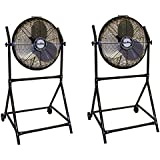 Air King 18 1/6 HP 3-Speed Adjustable Floor Fan with Roll-About Stand (2 Pack)