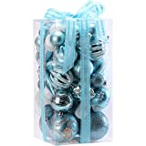 Sea Team 50-Pack Assorted Shatterproof Christmas Ball Ornaments Set Decorative Baubles Pendants with Premium Gift Wrapping Ribbon for Xmas Tree (Babyblue)