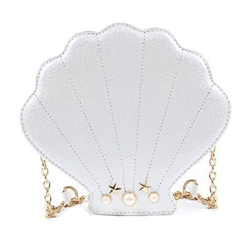 Kuang Women Novelty Laser Shell Shape Cross-body Shoulder Bags Pearl Chain Evening Purse