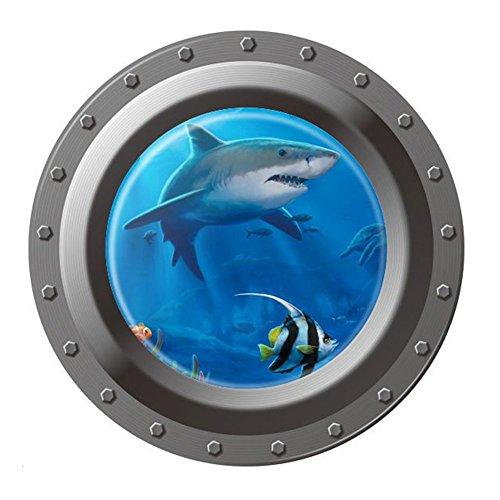 Vktech® Shark Ocean View Wall Sticker 3D Porthole Window Ki