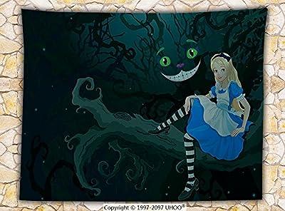 Alice in Wonderland Decorations Fleece Throw Blanket Alice Sitting on Branch with Chescire Cat in Darkness Striped Cartoon Love Throw