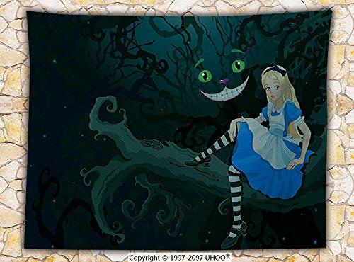 Alice in Wonderland Decorations Fleece Throw Blanket Alice Sitting on Branch with Chescire Cat in Darkness Striped Cartoon Love (Checkerboard Cat)