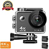 4K Action Camera, 16MP WiFi Ultra HD Anti-Shake 30M Underwater Waterproof Camera Sports Camcorder with 170° Degree Wide Angle Lens and 2.0 Inch LCD Screen and high-tech Sensor
