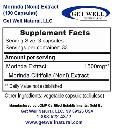 Morinda (Concentrated Herbal Noni Extract) - (100 Capsules) - Dietary Supplement - 3 Pack