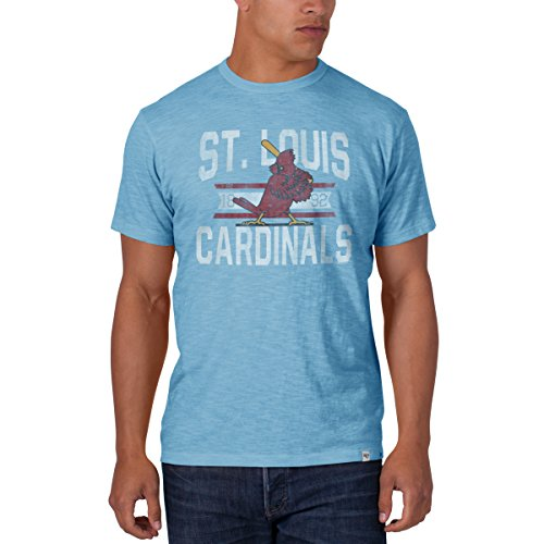 Cardinals Ball Louis Long ('47 MLB St. Louis Cardinals Brand Men's Scrum Basic Tee, Style 2, Small, Light Blue)