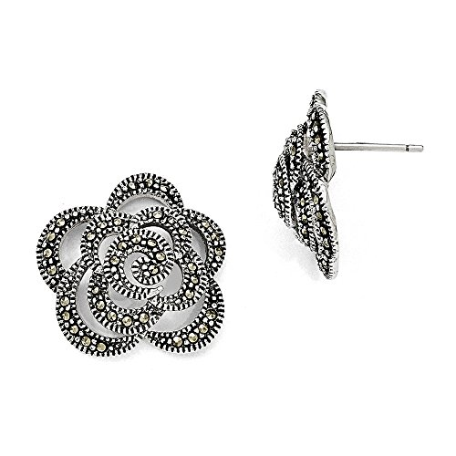 Sterling Silver Marcasite Flower Post Earrings (0.7IN Diameter) (Silver Marcasite Flower Earrings)