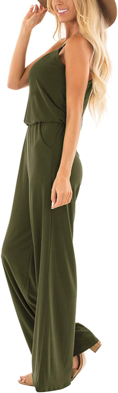 SUNNYME Womens Loose Fit Jumpsuits Summer Casual Sleeveless Spaghetti Strap Wide Leg Jumpsuits Rompers with Pockets